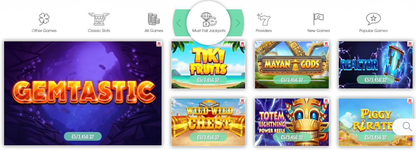 A vast selection of jackpot games can be found at Sloty Casino India