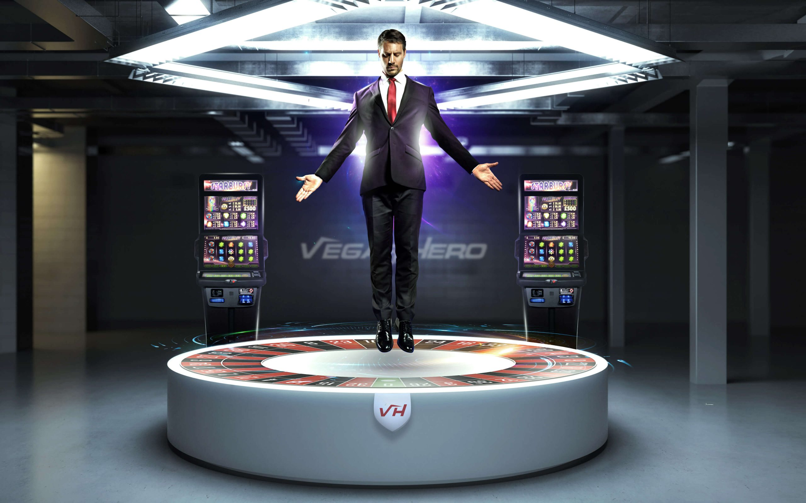 vegas hero advertise - man levitating between two slots and above the roulette wheel