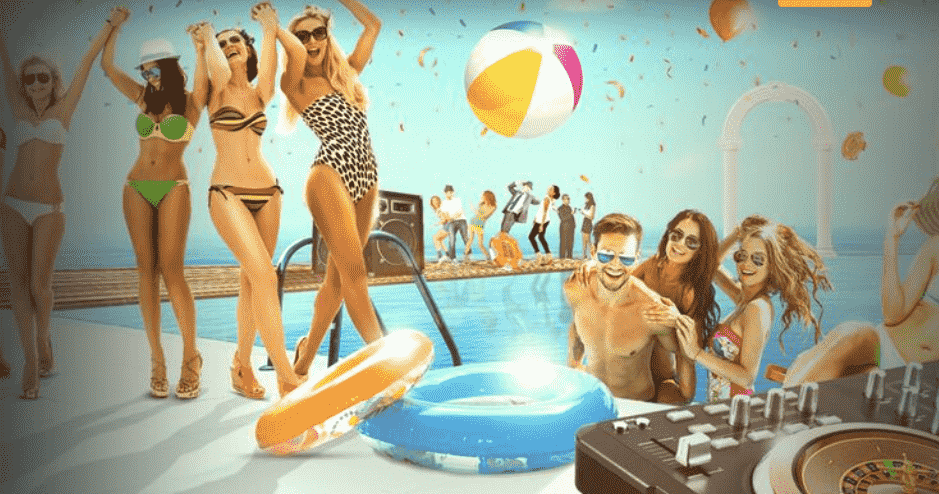 CasinoCruise promo banner - happy people on the pool with DJ controller as roulette wheel