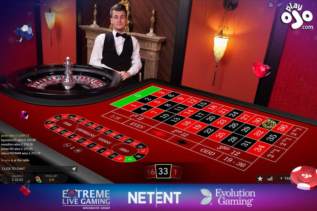 Playojo Live Casino - Roulette table and Live dealer