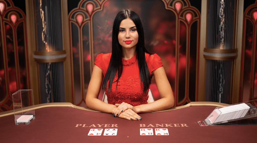 lightning baccarat - live dealer on the baccarat table waiting to start the new round
