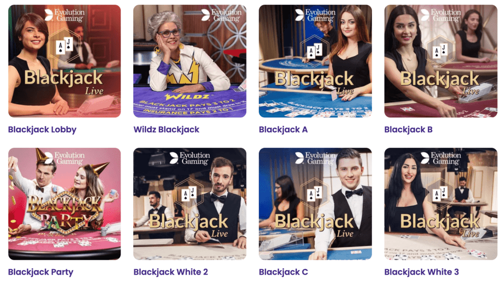 Play Live Casino Games such as Roulette, Blackjack and Poker at Wildz Casino