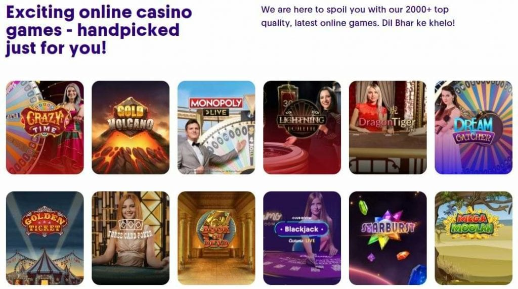 Indian picked live casino games on Casumo